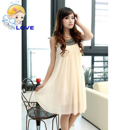 Wholesale Knee Length Dress For Pregnant - SL-29 Summer Graceful Maternity Clothes Black Beads Collars for Pregnant Females Sleeveless Clothing Dress