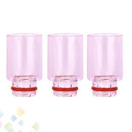 Wholesale Punte di gocciolamento di vetro rosa Punte di gocciolamento di foro largo Bocchini di vetro Pyrex per sigaretta RBA RDA atomizzatore DHL