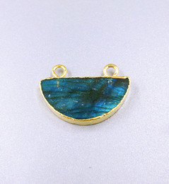 Wholesale Double Connector Charms - Gold Labradorite Half Moon Pendant Charm Gold Plated Half Round Shaped Labradorite Pendant Connectors with Double Bail for necklace