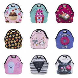 Wholesale Cooler Lunch Boxes - Neoprene Lunch Bag 3D Printed Unicorn Time Portable Waterproof Picnic Snack Bags Lunchbags Cooler Insulation Lunch Box 9 Styles OOA3147