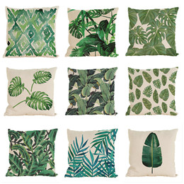 Wholesale Flowers Hibiscus - Tropical Cushion Covers Hibiscus Flowers Throw Pillows Covers Tropical Cotton Line Cushion Pillow Cases Without Insert(18*18Inch)