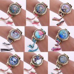Wholesale Fabric Watches - 21 Styles 14Colors Luxury Lady Frida kahlo Watch Fashion Hand-made Braided Quartz Wristwatch Women Bracelet Watches Free Shipping
