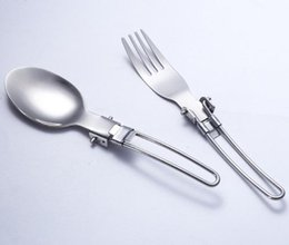 Wholesale Exported Japan - High quality Stainless steel fork & spoon Outdoor camping folding fork spoon portable camping tableware exported to Japan