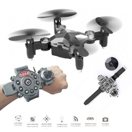 Wholesale Watch Wifi - 2017 DH-800 Watch Control Wifi FPV RC Selfie Drone 2.4GHz Foldable Pocket Mini RC Drone Portable RC Quadcopter with 0.3MP Camera