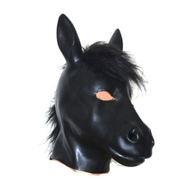 Wholesale Latex Sex Products - Hot sex product New male female 100% natural latex bondage horse head mask eyepatch gagged headgear hood adult BDSM toy bed game set