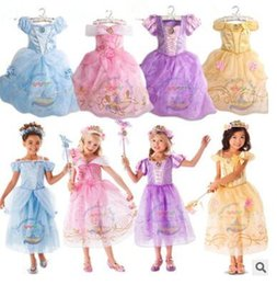 Wholesale Girls Baby Dresses Tulle - Girls Dresses Cinderella Princess Lace Tulle Dress Infant Short Sleeved Princess Evening Elegant Dress Baby Dress Party Dance Costumes J455