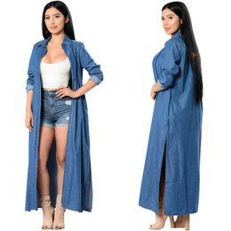 Wholesale Blue Denim Blouse - JessicaCHE 2017 Women's Casual Denim Thin Cardigan Trench Side Slit Long Kimono Blouse Roll-up Lapel Long Cloak Jacket