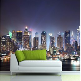 Wholesale Wood Contact Paper - Wholesale-Manhattan 3d papel de paede, New York City large mural wallpaper night background scenery wallpaper for walls 3 d contact paper
