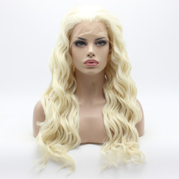 Wholesale Long Wavy Half Wigs - Iwona Hair Wavy Long White Light Blonde Mix Wig 6#1001 613 Half Hand Tied Heavy Density Synthetic Lace Front Wig
