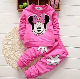 Wholesale Minnie Print - Retail Minnie Mouse Kids Girls Clothes Sets Cute Cartoon Print Long Sleeve T Shirts+Casual Trousers Sport Suit 0-3Y SKW-152