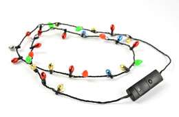 Wholesale Christmas Flashing Light Necklace Wholesale - LED Light Up Christmas Bulb Necklace Party Favors (1 Pack) Spread Christmas cheer at your family celebrations, holiday birthdays
