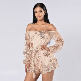 Wholesale Leotard Mesh - Autumn Sequin Embroidery Elegant Jumpsuit Rompers Transparent Mesh Sleeve Playsuit Women Off the Shoulder Loose Leotard Overalls W126845