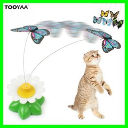 Wholesale Butterfly Play - Hot Cats Playing Toys Pet Kitten Toys Electric Rotating Butterfly Bird Steel Wire Cat Teaser For Pet Kitten Toys