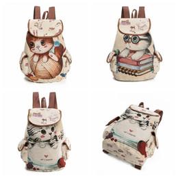 Wholesale Hot Kids Backpacks - Hot Sale Cute Cats Canvas Shoulder Bag Jacquard Embroidered Kids Teenager Girls Backpack School Bags CCA7577 100pcs