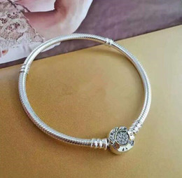 Wholesale Silver Tone Toggle Clasp - Authentic 925 Sterling Silver Crystal Beads Bangle Moments Two Tone Bracelet With P Signature Clasp Fits European Jewelry Charms