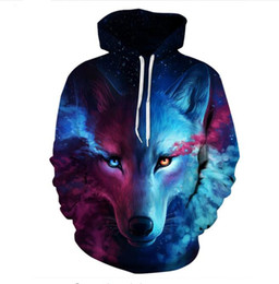 Wholesale Galaxy Print Hoodie Womens - 2017 New Design Womens Mens Galaxy Space Wolf Funny 3D Print Casual Crewneck Hoodies Plus Size LMS2017.7.039