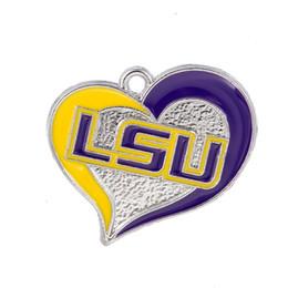 Wholesale wholesale christmas charms - 10PCS Newest Sport Team Metal Enamel Pendant Charms NCAA Louisiana State DIY Bracelet  Earring Sport Women Gift Jewelry
