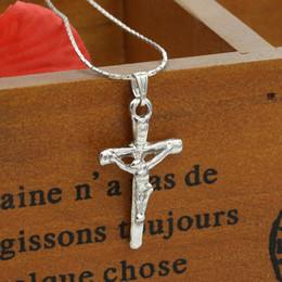 Wholesale Crucifix Pendant Chain - Jesus Cross Pendant & Necklace Women Men Christmas Gifts Wholesale Trendy Silver Crucifix Christian Jewelry 16 Inches