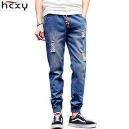 Wholesale Skinny Harem Jeans For Men - Wholesale-2016 brand hip-hop beam pencil pants Men's ripped Jeans men masculina Denim harem pants Slim fit Jean for men jeans skinny