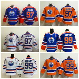 Wholesale Ice C - Youth Edmonton Oilers #97 Connor McDavid #99 Wayne Gretzky #14 Jordan Eberle Kids Orange Blue White With C Patch Jersey
