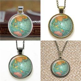 Wholesale Earth Globe Necklace - 10pcs Vintage Globe Planet Earth World Map Art Necklace keyring bookmark cufflink earring bracelet