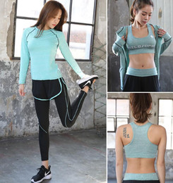 Wholesale Grey Pink Leggings - 4 Pcs Women Quick Drying Absorb Sweat Yoga Sets Fitness Clothing Gym Sports Slim Leggings+Tops Sport Suit for Female