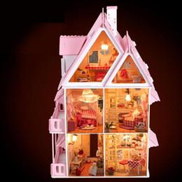 Wholesale Build Wooden - Wholesale- BOHS Diy Wooden Doll House Sun Alice Birthday Gift Presents Large Villa Manual Building Model Dioramas