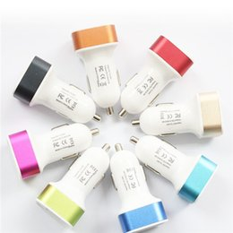 Wholesale Dc12v Power - Colorful Mini Car Charger 2 ports Cigarette Dual Port 2.1A Micro auto power Adapter Nipple Dual USB for Phone 6s plus samsung s7