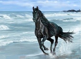 Wholesale Horse Canvases - Black Horse Running by the Sea,Pure Handpainted Abstract Animal Art Oil Painting On High Quality Canvas.customized size accepted,xinyo