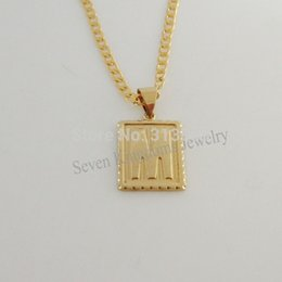 "Wholesale Cuban Link Wholesale - Wholesale-Min order 10$ CAN MIX DESIGN   18K YELLOW GOLD OVERLAY FILLED BRASS 24"" CUBAN NECKLACE&LETTER M INITIAL PENDANT Great Gift"