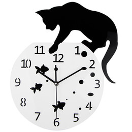 Wholesale Unique Fishes - Wholesale-3D Home Decor Acrylic Wall Clock Cat and Fish Design Big Watch Quartz Clock Unique Gift
