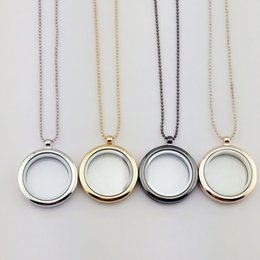 Wholesale Gold Photo Frame Pendant - Glass Locket Necklace Can Be Opened to Put Photo Memory Pendant Charming Ladies Round Frame Necklace Jewelry Accessory Wholesale