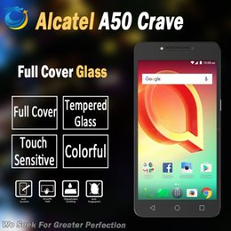 Wholesale Cover For Alcatel - Full cover color screen Tempered glass For Alcatel A50 Crave idol 5 6060c Nitro 5 Pulse mix with retail packing