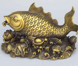 Wholesale Wood Carp - Elaborate Chinese decoration crafts manual Brass carp sculpture