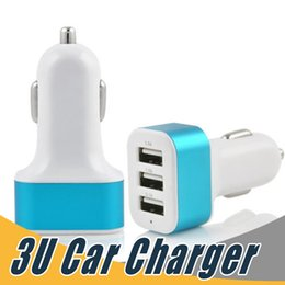 Wholesale Usb Car Adapter Travel - 3 Port USB Car Charger Mini Travel Adapter Universal For Samsung LG HTC Sony Android Smartphone