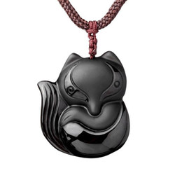 Wholesale Beaded Stone Necklaces - Hand carved natural Obsidian stone fox good luck pendant necklace