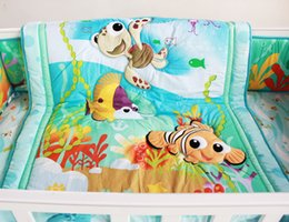 Wholesale Cot Sheets Sets - 8 Pieces Crib Baby Bedding Set Finding Nemo Baby Nursery Cot Ropa de Cama Crib Bumper Quilt Fitted Sheet Dust Ruffle