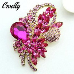 Wholesale Cheap Wholesale Rhinestone Brooches - Large Size Colorful Rhinestone Champagne Crystal Brooch Peacock Scarf Buckle Wedding Bouquet Brooches Pin Wholesale Cheap Price New Design