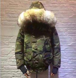 Wholesale Overcoat Men S - M375 Camouflage Print Euro Size Mens Popular Wolf Fur Collar Winter Jakcet Warm Plus Size Male Down Manteau Good Quality Hooded Overcoats