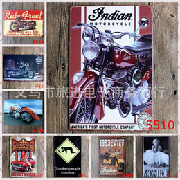 Wholesale Shop For Wholesalers - 3 99rjR 20*30cm Antique Motorcycle Monroe Metal Tin Sign Creative Iron Painting Drunken People Crosssing Tin Posters For Shop Bedroom