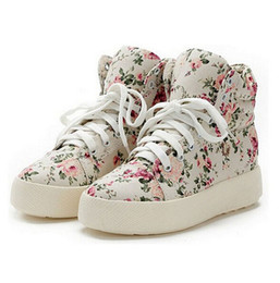 Wholesale Cotton Canvas Floral Print - Women sports shoes Fashion Canvas Walking shoes woman platform canvas floral print ankle boots shoes wedges shoes Mujer free shipping S39