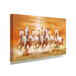 Wholesale Framed Horse Painting - Famous White Horse Running Picture Canvas Painting Home Wall Art Picture For Living Room Unique Gift