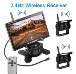 """Wholesale Wireless Rear View Cameras - Wireless 7"""" Car Rear View Monitor+ 2 Backup Camera + Antenna For Truck Trailer"""