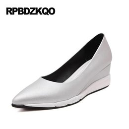 Wholesale Cheap Silver Wedge Heels - Designer Brand Shoes Women Plus Size Cool 2017 White Cheap Medium Pumps Pointed Toe High Heels Casual Silver 33 Wedge Summer