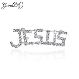 Wholesale Words Rhinestones Pins - Wholesale- BlingBling Unique Gift Fancy Design of Hand-made Rhinestone JESUS Word Brooch Pins