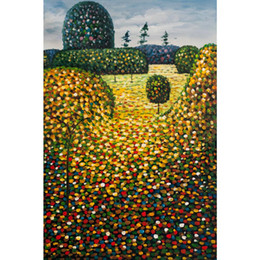Wholesale Field Poppies - Gustav Klimt Reproduction Garden Paintings oil on canvas Field of Poppies High quality Handmade Wall decor