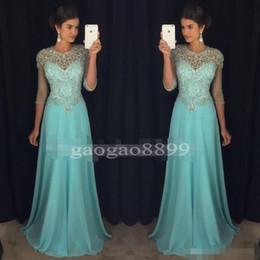 Vestido de fiesta de los rhinestones escarpados online-Chic Blue Prom Vestidos de noche 2019 A-Line Sheer Neck Rhinestones Major Beaded 3 / 4Long Sleeves Chiffon Formal Party Gown Celebrity Dress
