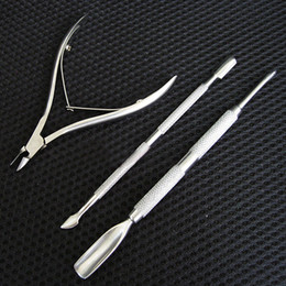 Wholesale Nails Cut Designs - Wholesale- Silver Stainless Steel Nail Art Decorations Cuticle Spoon Pusher Remover Cutter Nipper Clipper Cut Set Chic Design 5GH8