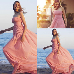 Wholesale Dress Paty - Beach Charming Chiffon Bridesmaid Dresses 2017 Pink Strapless Sleeveless A Line Pleat Floor Length Long Modern Cheap Wedding Paty Gowns