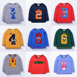 Wholesale Yellow Top Cartoon - Fashion Baby Boys Girls Digital Number Animal Striped long sleeve T- shirt Autumn Cartoon Printed Tops